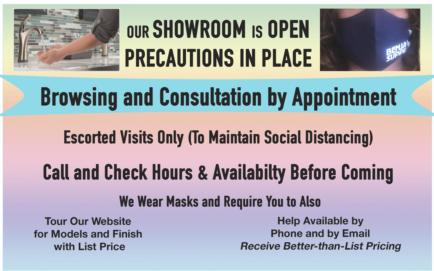 Appointments needed to visit our store